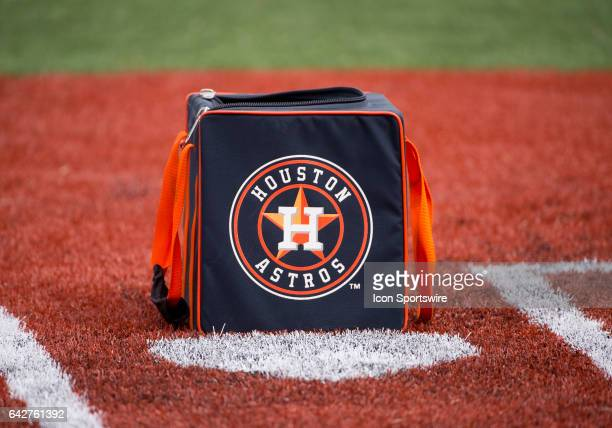 The Houston Astros ball bag on the field during Houstons Astros spring training workout at The Ballpark of the Palm Beaches in West Palm Beach...