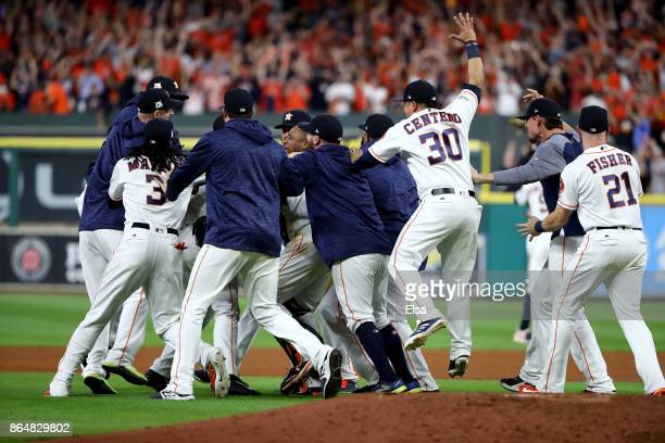 The Houston Astros celebrate after defeating the New York Yankees by a score of 40 to win Game Seven of the American League Championship Series at...