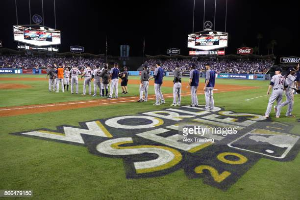 The Houston Astros celebrate after winning Game 2 of the 2017 World Series against the Los Angeles Dodgers at Dodger Stadium on Wednesday October 25...