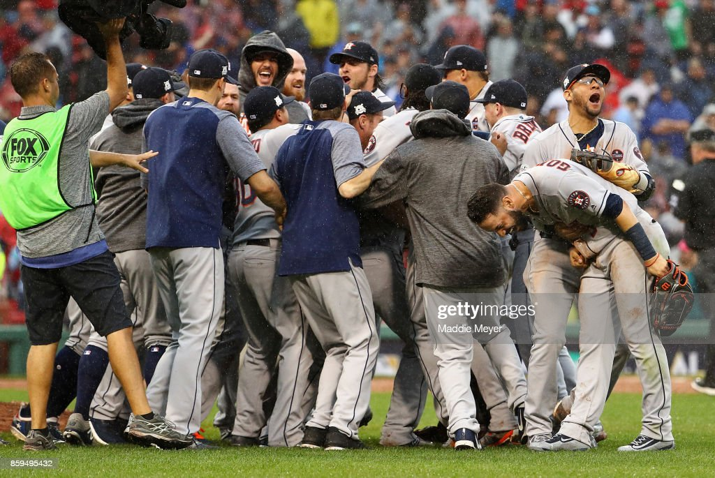 The Houston Astros celebrate defeating the Boston Red Sox 5-4 in game four of the American League Division Series at Fenway Park on October 9, 2017 in Boston, Massachusetts. The Houston Astros advance to the American League Championship Series.