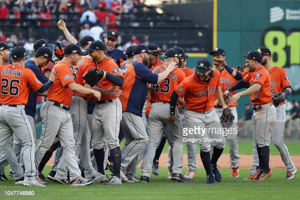 The Houston Astros celebrate defeating the Cleveland Indians 113 in Game Three of the American League Division Series to advance to the American...