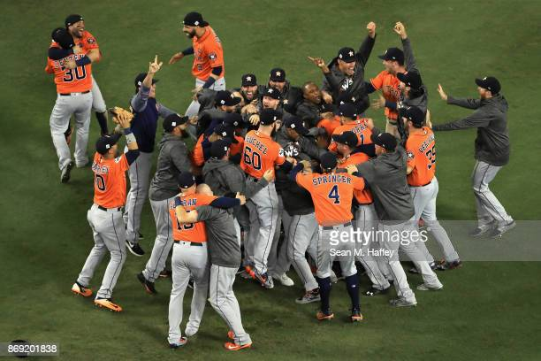 The Houston Astros celebrate defeating the Los Angeles Dodgers 51 in game seven to win the 2017 World Series at Dodger Stadium on November 1 2017 in...