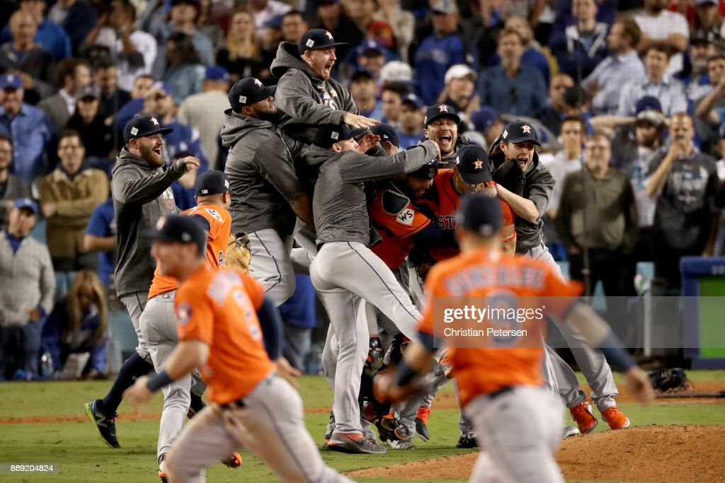 The Houston Astros celebrate defeating the Los Angeles Dodgers 5-1 in game seven to win the 2017 World Series at Dodger Stadium on November 1, 2017 in Los Angeles, California.