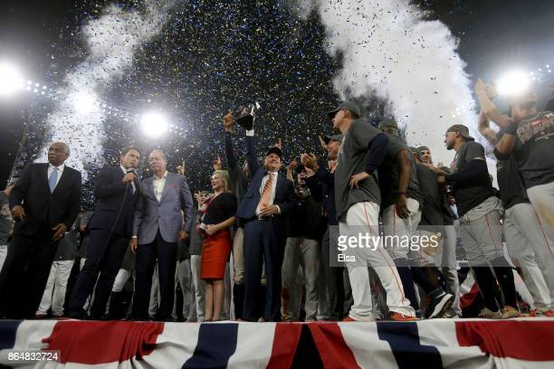 The Houston Astros celebrate with the The William Harridge Trophy after defeating the New York Yankees by a score of 40 to win Game Seven of the...