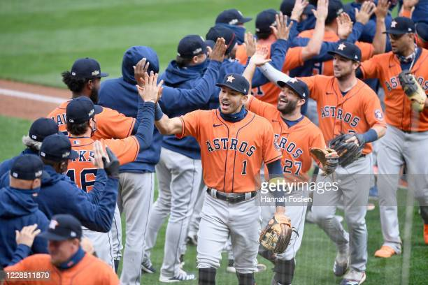 The Houston Astros celebrates defeating the Minnesota Twins in Game Two in the American League Wild Card Round at Target Field on September 30, 2020...