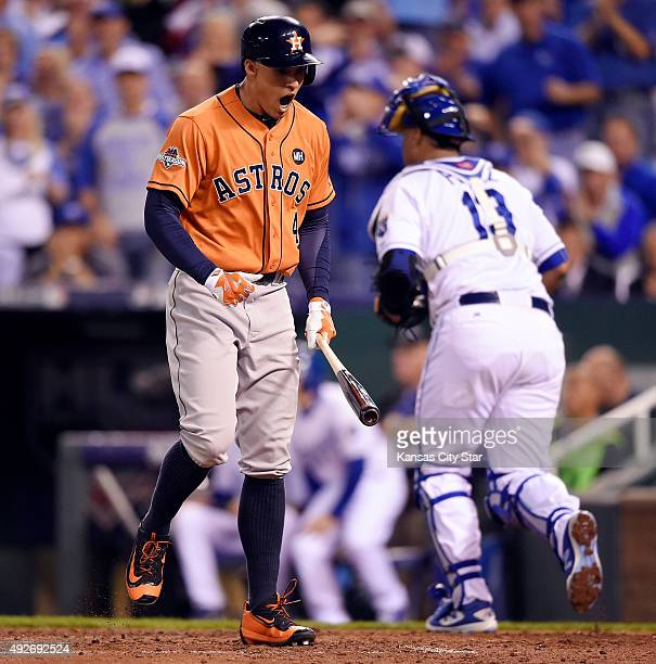 The Houston Astros' George Springer shouts after striking out to end the top of the third innnig against the Kansas City Royals during Game 5 of the...