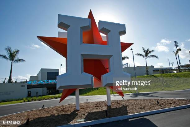 The Houston Astros logo in front of The Ballpark of the Palm Beaches prior to the spring training game against the Miami Marlins on March 1 2017 in...