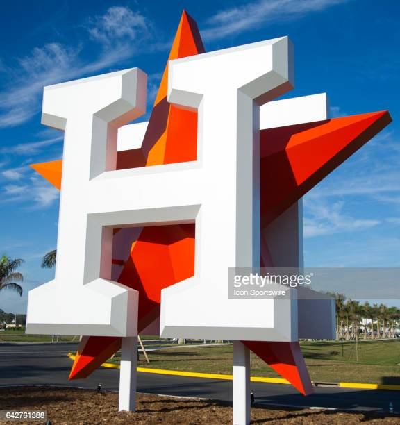 The Houston Astros logo in front of the Houston Astros spring training facility at The Ballpark of the Palm Beaches in West Palm Beach Florida on...