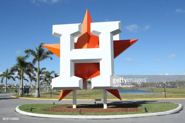 The Houston Astros logo is displayed outside The Ballpark of the Palm Beaches prior to the spring training game against the Atlanta Braves on...