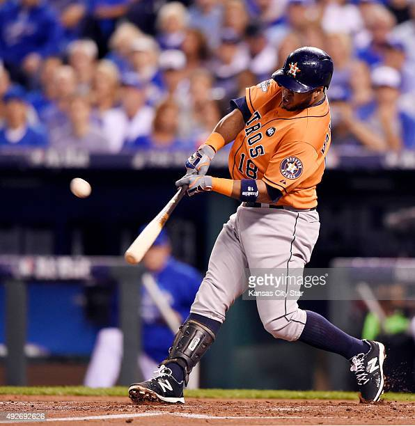 The Houston Astros' Luis Valbuena smacks a tworun home run in the second inning against the Kansas City Royals during Game 5 of the ALDS on Wednesday...