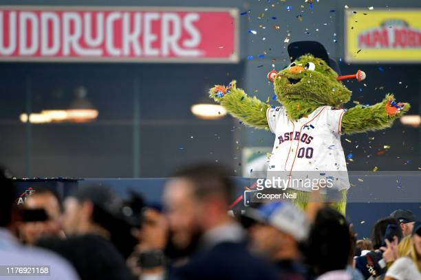 The Houston Astros mascot celebrates with the team after winning the AL pennant with a 6-4 win in Game 6 of the ALCS against the New York Yankees at...