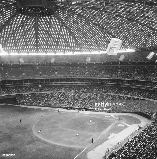 The Houston Colt 45s take on the Philadelphia Phillies in the first Major League baseball game ever to played in an indoor arena the Houston...