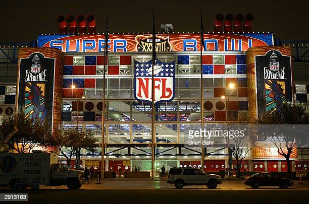 The Houston Convention Center is lit up for the NFL Experience January 29 2004 prior to Super Bowl XXXVIII between the New England Patriots and the...