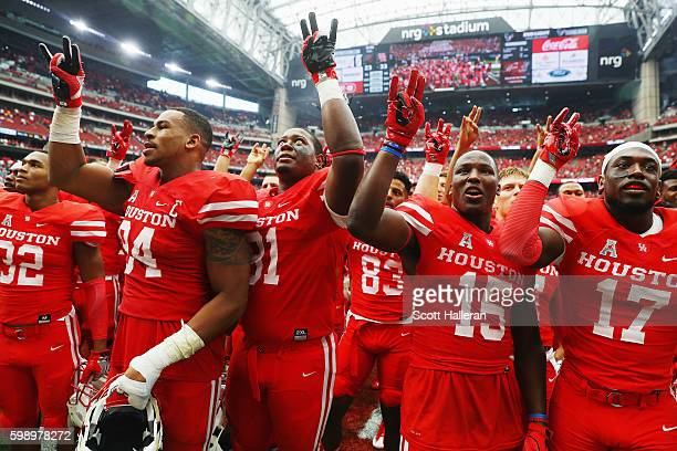 The Houston Cougars celebrate after they defeated the Oklahoma Sooners 3323 during the Advocare Texas Kickoff on September 3 2016 in Houston Texas