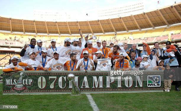 The Houston Dynamo celebrate after defeating the New England Revolution by a score of 21 to win the 2007 Major League Soccer Cup at RFK Stadium on...