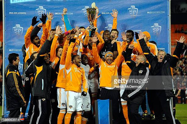 The Houston Dynamo celebrate after winning the MLS 2012 Eastern Conference Championship over DC United at RFK Stadium on November 18 2012 in...