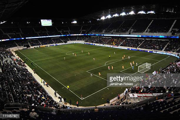 The Houston Dynamo play against the New York Red Bulls at Red Bull Arena on April 2 2011 in Harrison New Jersey