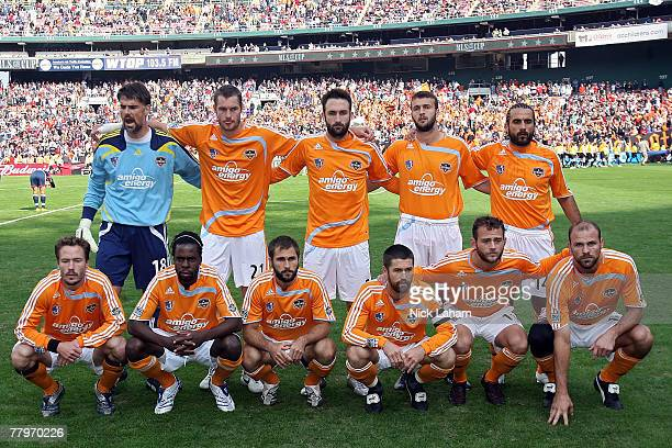 The Houston Dynamo pose for a team photo before taking on the New England Revolution in the 2007 Major League Soccer Cup at RFK Stadium on November...