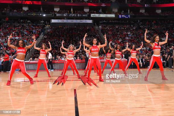 The Houston Rockets cheerleaders peform during the game between the Houston Rockets and the Milwaukee Bucks on January 9 2019 at the Toyota Center in...