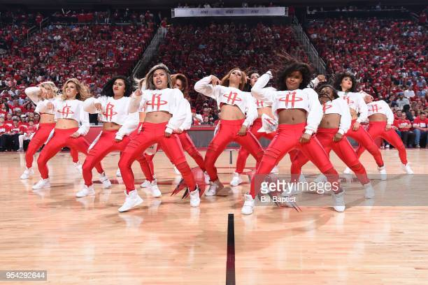the Houston Rockets cheerleaders perform during Game Two of Round Two of the 2018 NBA Playoffs on May 2 2018 at the Toyota Center in Houston Texas...