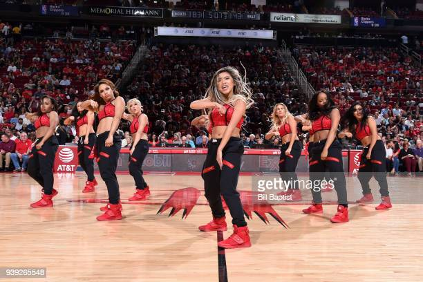The Houston Rockets cheerleaders perform during the game against the Chicago Bulls on March 27 2018 at the Toyota Center in Houston Texas NOTE TO...