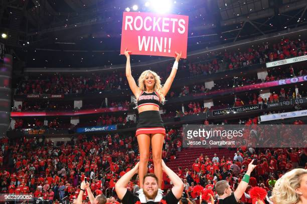The Houston Rockets dance team perform after Game Five of the Western Conference Finals against the Golden State Warriors during the 2018 NBA...