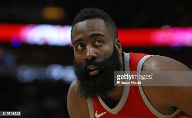 The Houston Rockets' James Harden looks on during the fourth quarter against the Miami Heat at the AmericanAirlines Arena in Miami on Wednesday Feb 7...