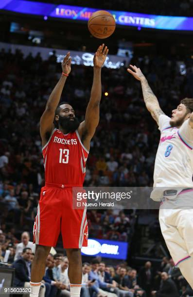 The Houston Rockets' James Harden shoots over the Miami Heat's Tyler Johnson during the fourth quarter at the AmericanAirlines Arena in Miami on...