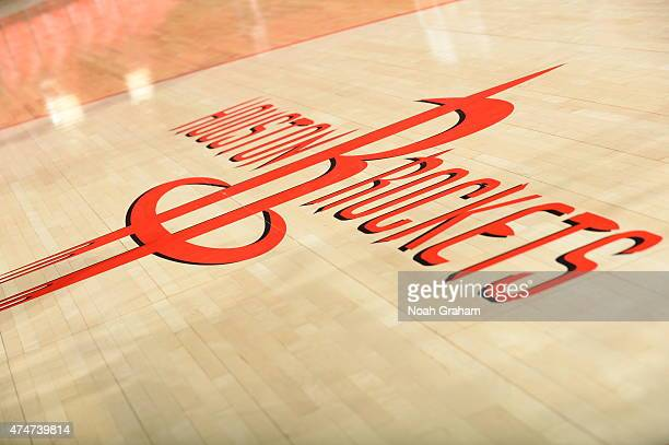The Houston Rockets logo is displayed on the floor of the arena prior to Game Four of the Western Conference Finals against the Golden State Warriors...