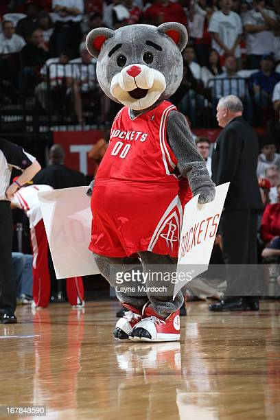The Houston Rockets mascot gets the crowd into the game against the Oklahoma City Thunder in Game Three of the Western Conference Quarterfinals...