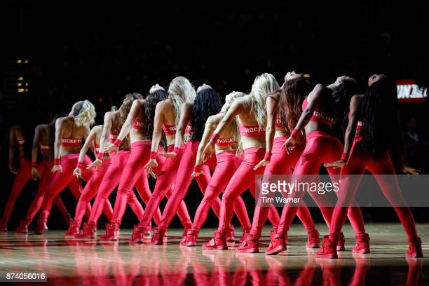 The Houston Rockets power dancers perform during the game Cleveland Cavaliers at Toyota Center on November 09 2017 in Houston Texas NOTE TO USER User...