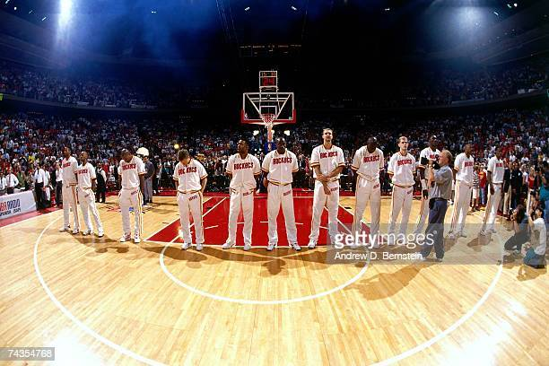 The Houston Rockets stand during the national anthem prior to Game Seven of the 1994 NBA Finals at the Summit on June 22 1994 in Houston Texas NOTE...