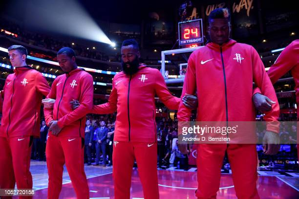 The Houston Rockets stands for the National Anthem before the game against the LA Clippers on October 21 2018 at Staples Center in Los Angeles...