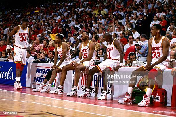 The Houston Rockets wait on the sideline prior to Game Seven of the 1994 NBA Finals at the Summit on June 22 1994 in Houston Texas NOTE TO USER User...