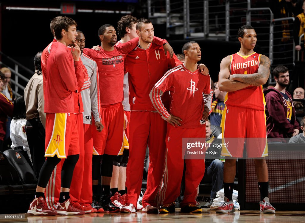 The Houston Rockets watch from the sidelines closely in the closing minute of the game against the Cleveland Cavaliers at The Quicken Loans Arena on January 5, 2013 in Cleveland, Ohio.