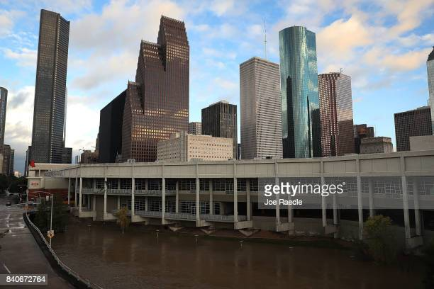 The Houston skyline is seen after the area was inundated with flooding from Hurricane Harvey on August 29 2017 in Houston Texas Harvey which made...