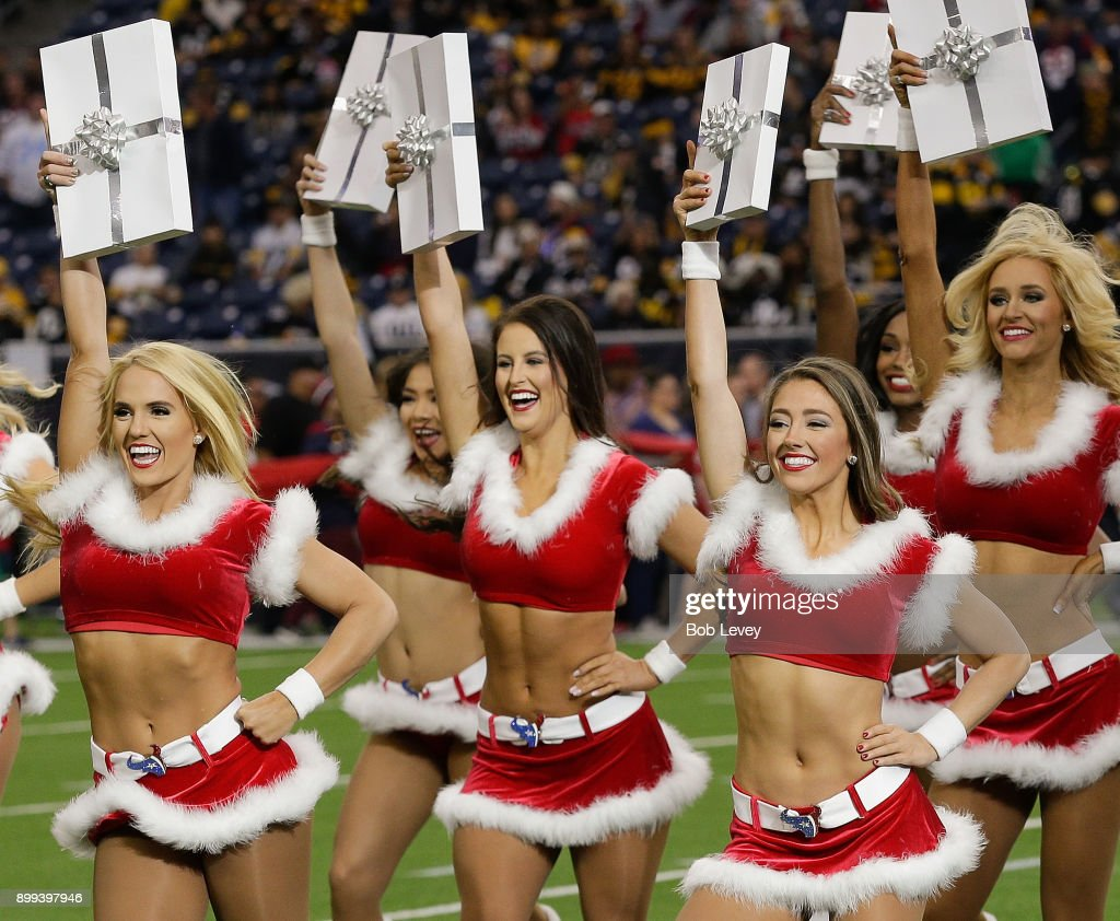 The Houston Texans Cheerleaders perform during game action at NRG Stadium on December 25, 2017 in Houston, Texas. The Pittsburgh Steelers defeated the Houston Texans 34-6.