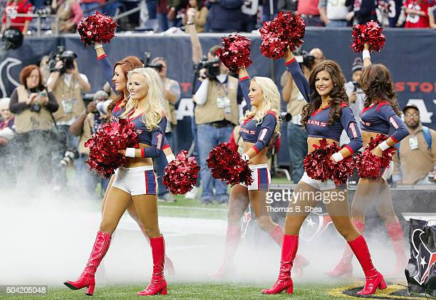 The Houston Texans cheerleaders perform during the first half of the AFC Wild Card Playoff game between the Houston Texans and the Kansas City Chiefs...