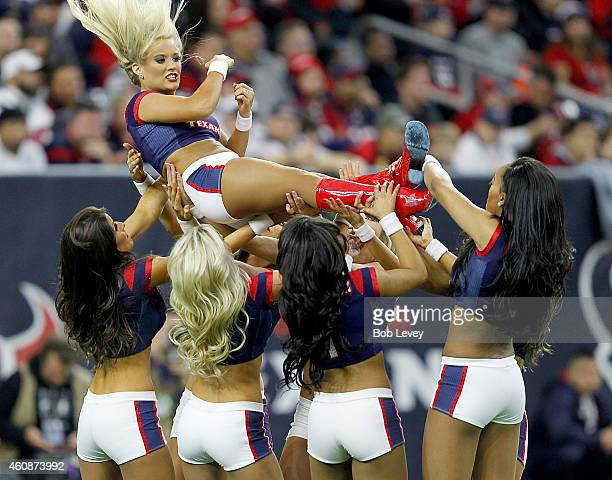 The Houston Texans cheerleaders perform while the Houston Texans play the Jacksonville Jaguars in the second quarter in a NFL game on December 28...