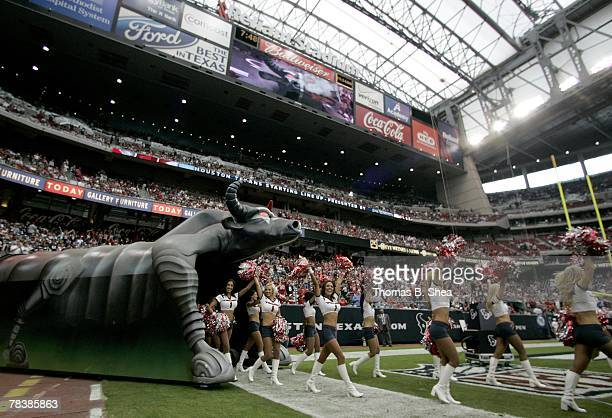 The Houston Texans cheerleaders take the filed before th NFL game of the Houston Texans against the Tampa Bay Buccaneers at Reliant Stadium on...
