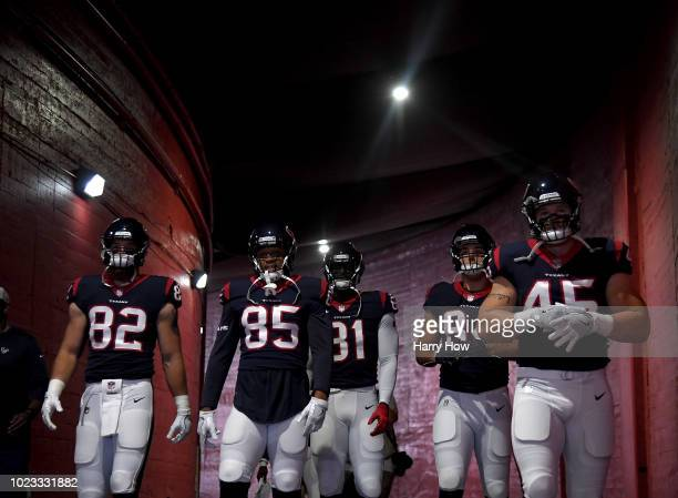 The Houston Texans head to the field before a preseason game against the Los Angeles Rams at Los Angeles Memorial Coliseum on August 25 2018 in Los...