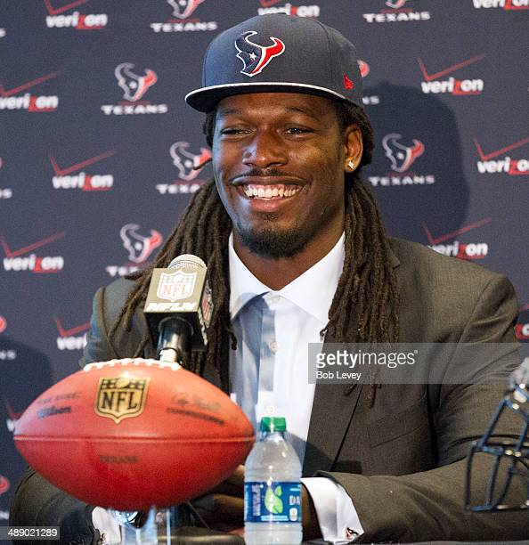 The Houston Texans introduce Jadeveon Clowney during a press conference at Reliant Stadium on May 9 2014 in Houston Texas Clowney was selected by the...