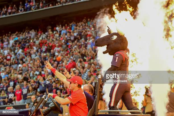 The Houston Texans mascot Toro is welcomed to the field before the football game between the Cleveland Browns and the Houston Texans on October 15...