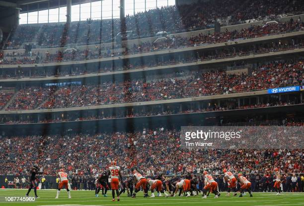 The Houston Texans offense lines up against the Cleveland Browns defense in the fourth quarter at NRG Stadium on December 2 2018 in Houston Texas