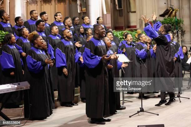 The Howard Gospel Choir of Howard University performs during Global Citizen Breaking the Silence Beyond the Dream at Riverside Church on September 17...