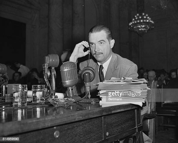 The Howard Hughes War Contract probe reached a stormy climax today when sub-committee chairman Homer Ferguson issued a new subpoena for Hughes' press...