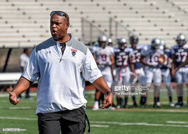 The Howard University Bison Head Football Coach Mike London gets his team ready for practice on Monday August 5 2017 The Bison who were 45point...