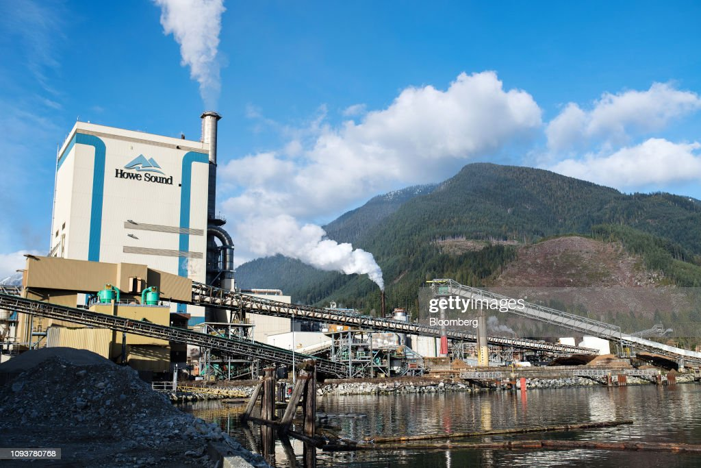 The Howe Sound Pulp & Paper Corp  facility stands in Port
