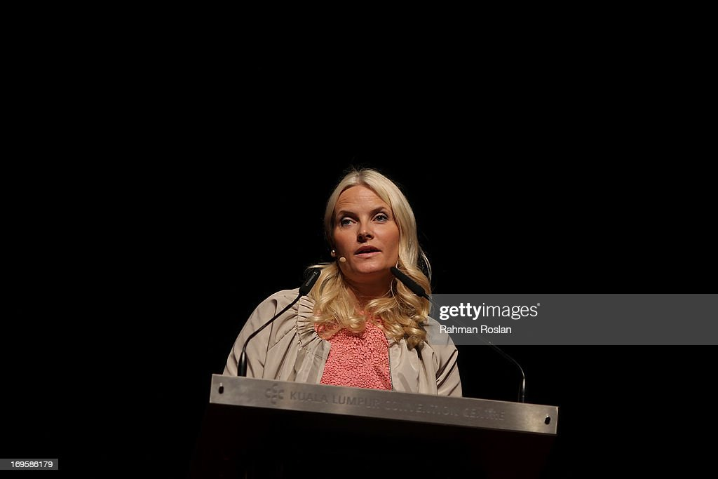 The HRH Crown Princess Mette-Marit of Norway delivers her speech during a session at The Women Deliver Conference on May 28, 2013 in Kuala Lumpur, Malaysia. The Women Deliver 2013 Conference brings together voices from around the world to call for action to improve the health and well-being of girls and women. The WD Conference builds on commitments, partnerships, and networks mobilized at the groundbreaking Women Deliver conferences in 2007 and 2010, fighting to end the deluge of preventable deaths that kill approximately 287,000 girls and women from pregnancy-related causes every year.