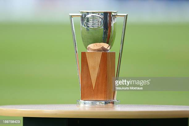 The HRV Cup during the HRV T20 Final match between the Otago Volts and the Wellington Firebirds at University Oval on January 20 2013 in Dunedin New...